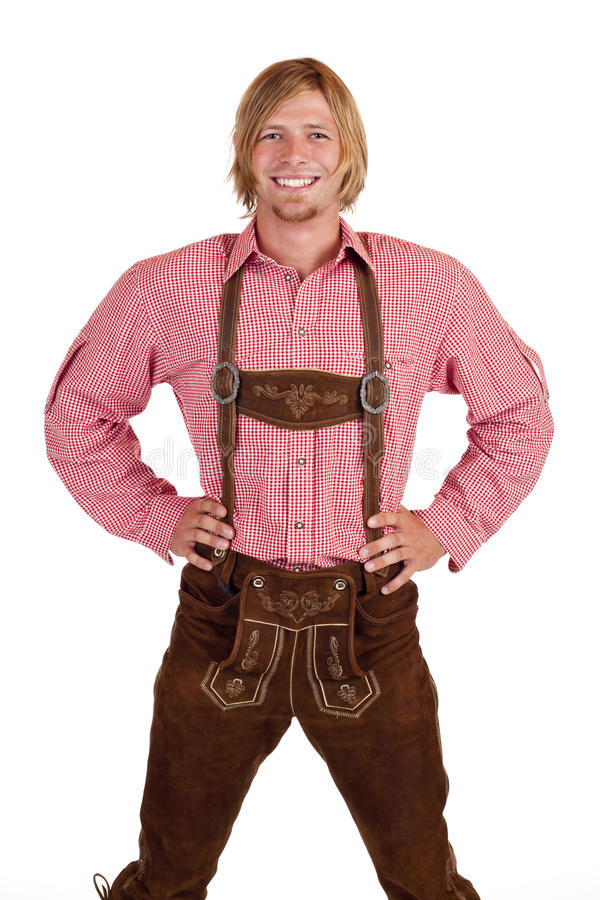 Happy proud man with oktoberfest leather trousers stock photo