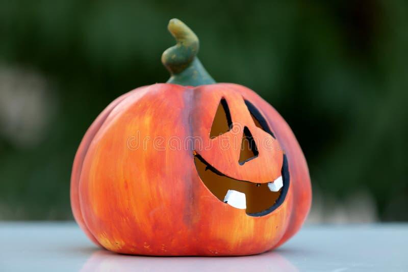 Happy pumpkin outside royalty free stock photo
