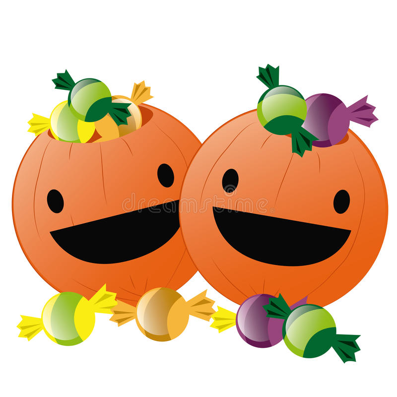 Happy pumpkins for halloween stock illustration