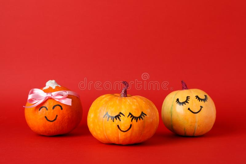 Happy pumpkins on red background royalty free stock images