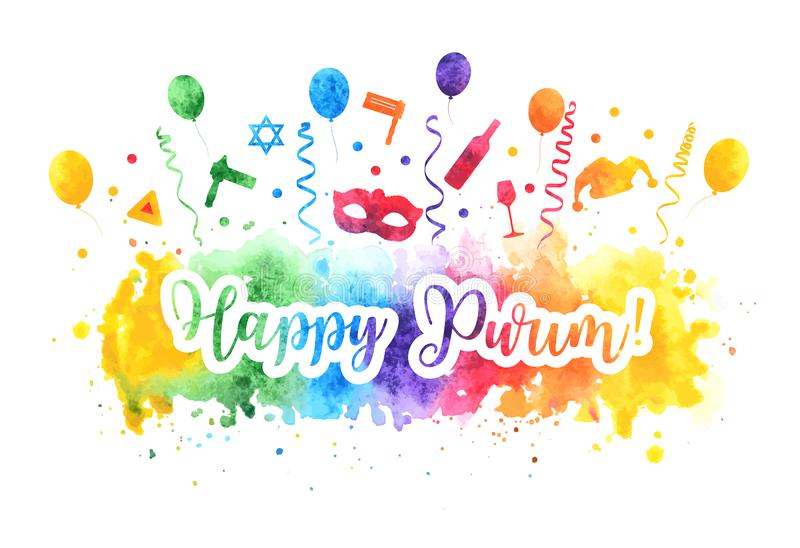 Happy Purim Jewish Holiday greeting card. Purim carnival set of watercolor design elements, icons isolated on white royalty free illustration