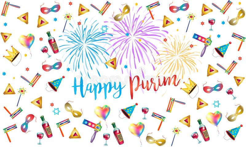 Happy purim jewish holiday fireworks festival stock vector happy purim jewish holiday greeting card with traditional purim symbols noisemaker masque gragger hamantaschen cookies crown star of david m4hsunfo Image collections