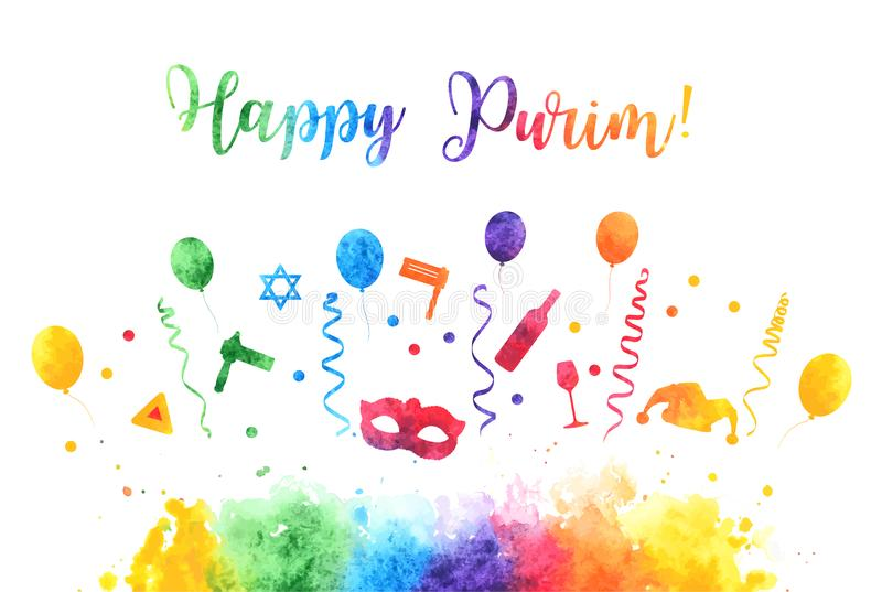 Happy Purim Jewish Holiday greeting card. traditional Purim carnival symbols watercolor design elements, icons isolated stock illustration