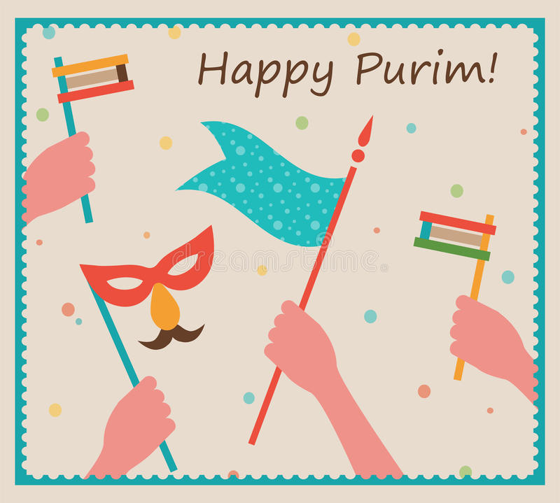 Happy Purim. Party or festival Invitation design royalty free illustration