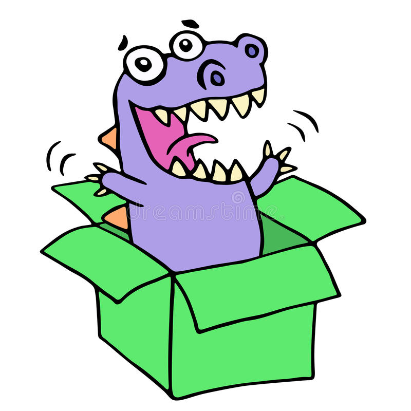 Happy purple dragon in green box. Vector illustration. vector illustration