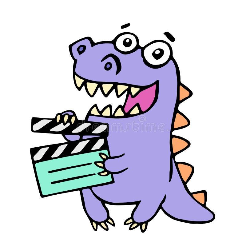 Happy purple dragon with movie clapper board. Vector illustration. stock illustration