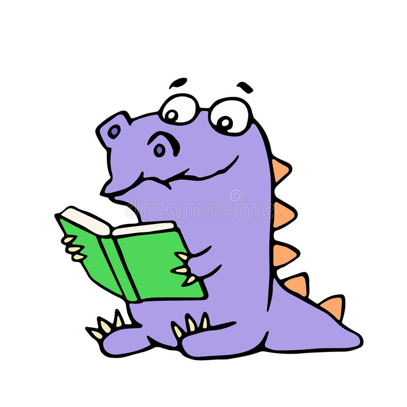 Happy purple dragon sits and reads a book with glasses. Vector illustration. Cute cartoon character royalty free illustration