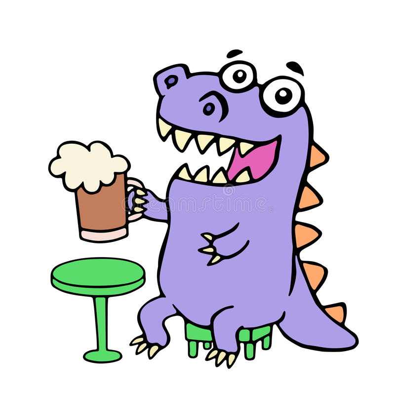 Happy purple dragon sitting with a mug of beer. Vector illustration. royalty free illustration