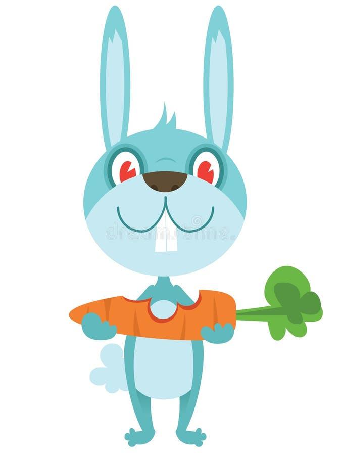 Happy rabbit with carrot. Cartoon happy rabbit with carrot vector illustration