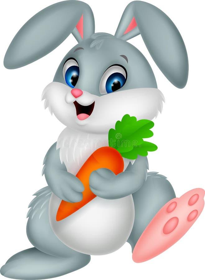 Happy rabbit cartoon holding carrot. Illustration of Happy rabbit cartoon holding carrot royalty free illustration