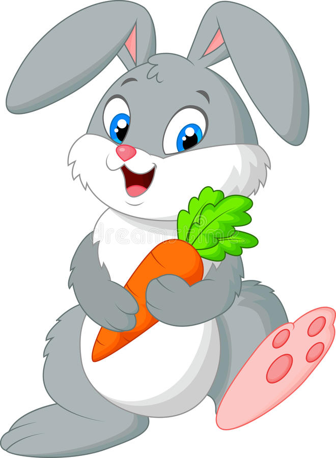 Happy rabbit holding carrot. Illustration of Happy rabbit holding carrot stock illustration