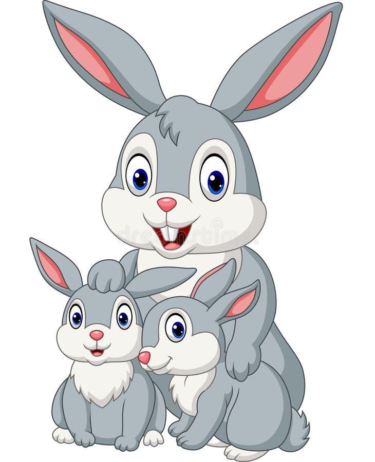 Happy rabbits family vector illustration