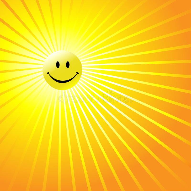 Happy Radiant Smiley Face stock illustration
