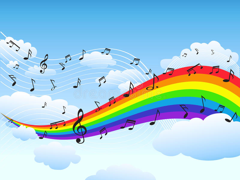 Rainbow Notes On Light Background Stock: Happy Rainbow With Music Note Background Stock Vector
