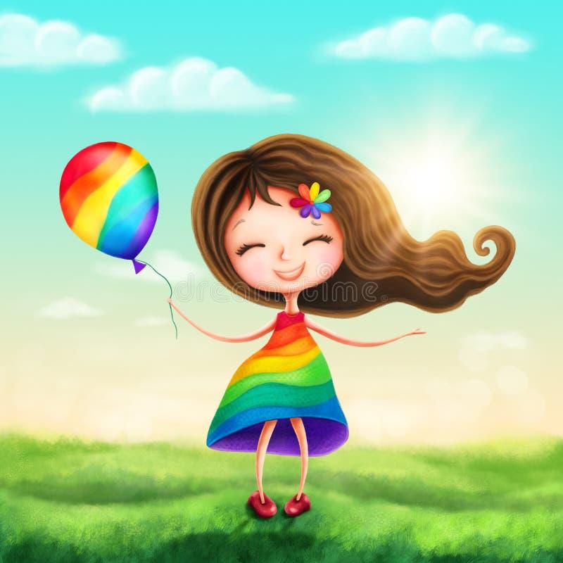 Happy rainbow princess girl stock illustration