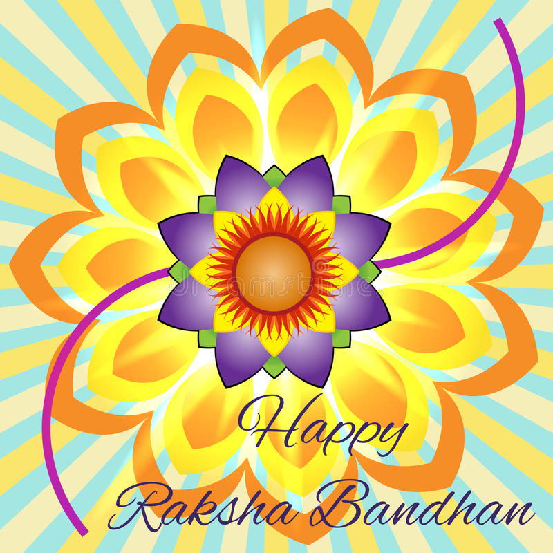 Happy Raksha Bandhan. Elegant greeting card with beautiful rakhi for Indian festival of brother and sister love, celebration stock illustration
