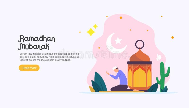 happy ramadan mubarak greeting concept with people character for web landing page template, banner, presentation, social, and vector illustration