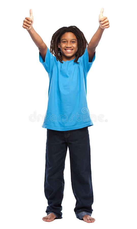 Happy rasta kid with thumbs up stock image