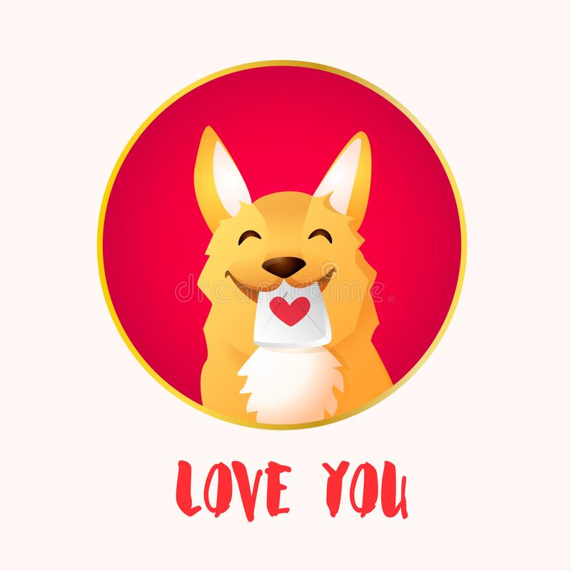 Happy red dog in frame and love letter for Valentines day. Vector card royalty free illustration