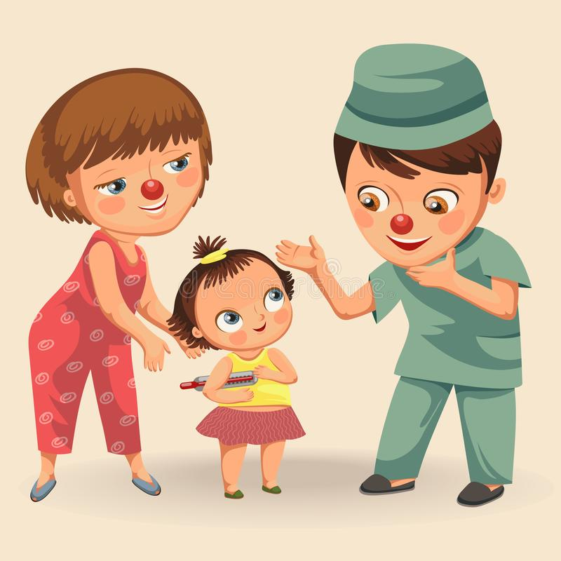Happy red nose day, mother brought her daughter to medical doctor in hospital, mom fun clownnose and baby girl patient vector illustration