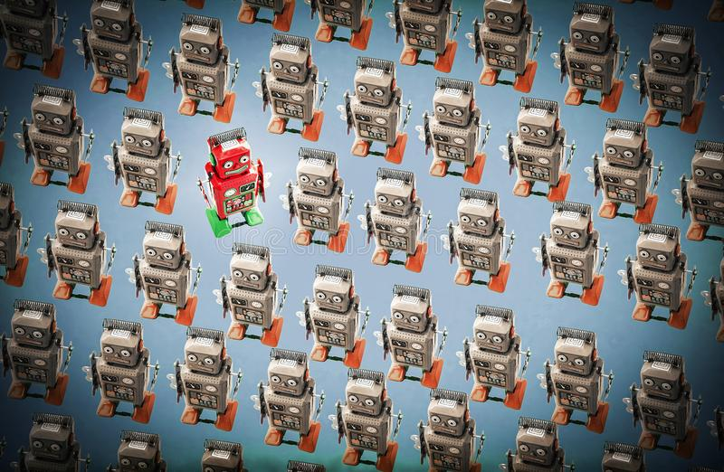 Happy red robot goes against the crowd. Unique concept royalty free stock images