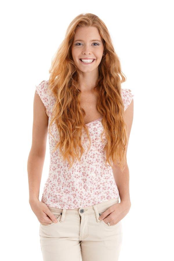 Happy redhead beauty stock photography