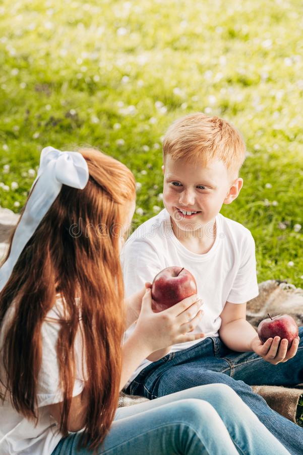 happy redhead kids eating apples while sitting at picnic royalty free stock image