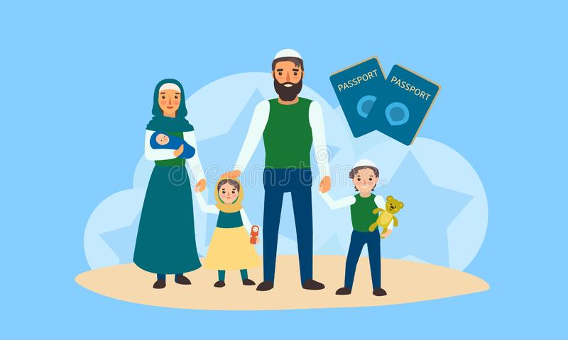 Happy refugee family concept banner, flat style vector illustration