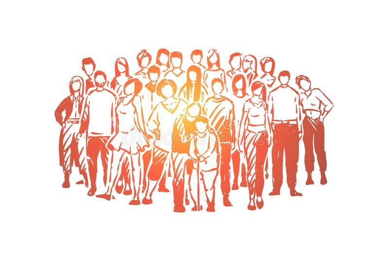 Happy relatives, children, parents and grandparents posing for group photo, men, women and seniors. Society togetherness, big friendly family concept sketch stock illustration