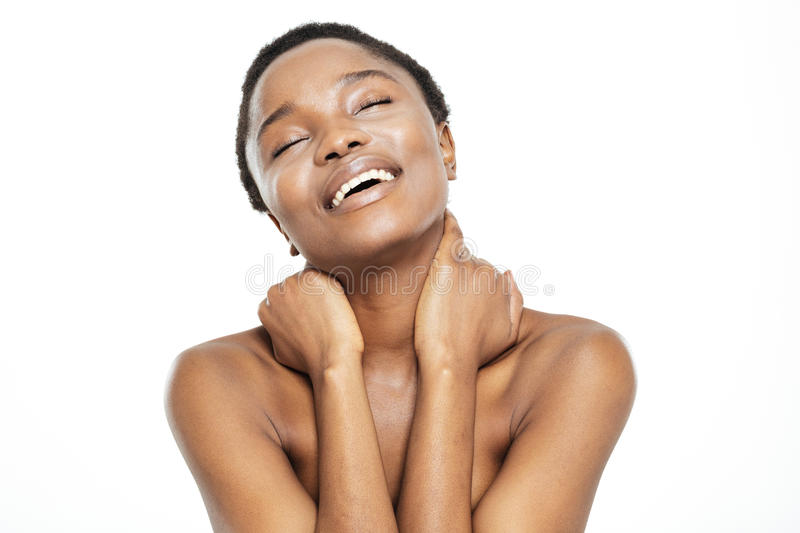 Happy relaxed afro american woman with fresh skin stock image