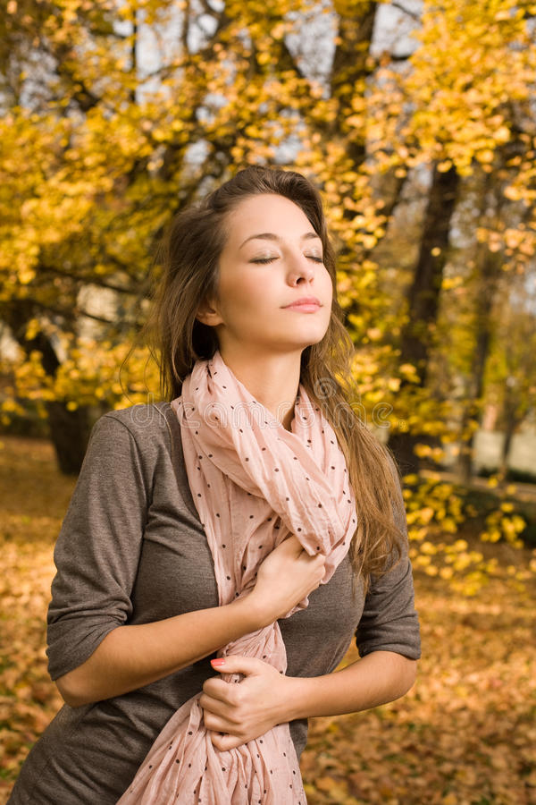 Happy Relaxed Autumn Fashion Girl. Stock Image