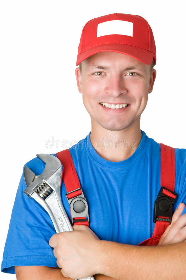 Happy Repairman Worker Serviceman Royalty Free Stock Photography