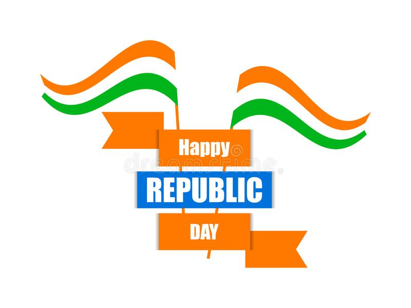 Happy Republic Day of India. National flag of India and ribbon. Vector royalty free illustration