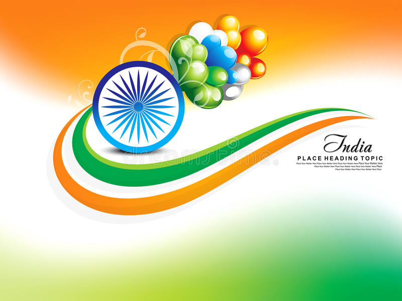 Happy republic day wave background with balloon vector illustration