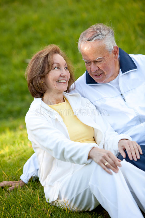 Download Happy retired couple stock photo. Image of content, tracksuit - 15829140