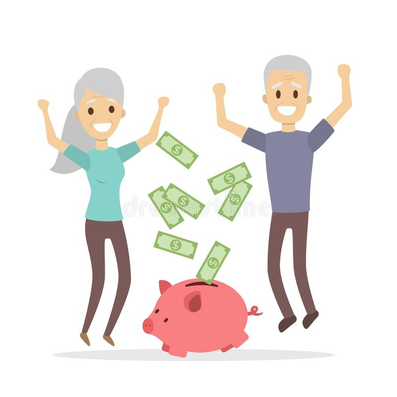 Happy retired seniors. Happy retired seniors jumping. Piggy bank with money vector illustration