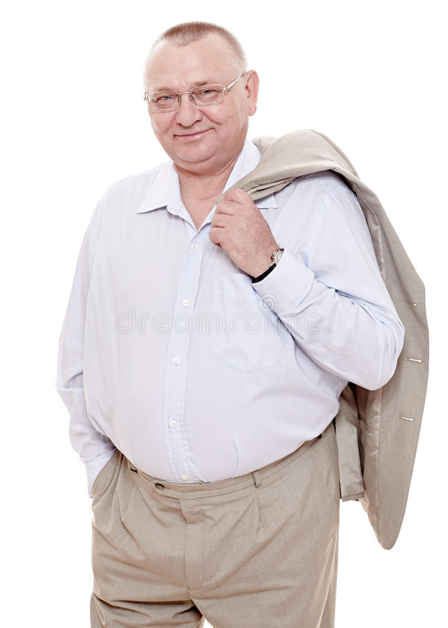 Happy retiree in suit stock image
