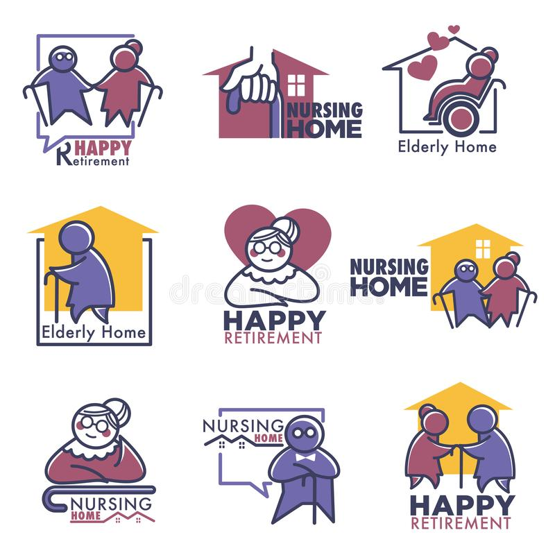 Happy retirement for elderly people nursing home stock illustration