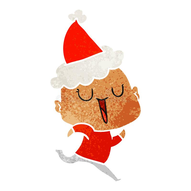 happy retro cartoon of a bald man wearing santa hat stock illustration