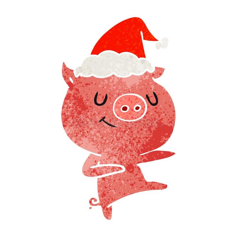 happy retro cartoon of a pig dancing wearing santa hat royalty free illustration