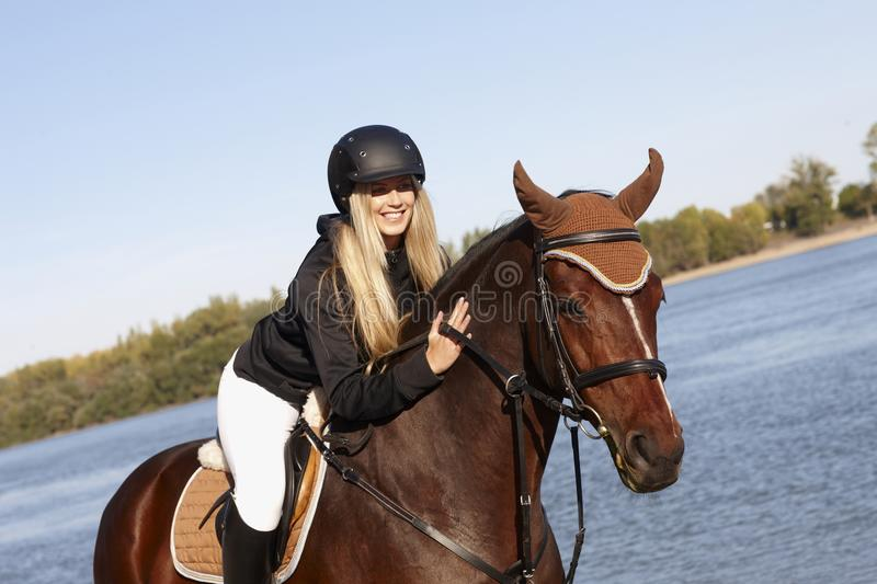 Download Happy Rider Caressing Horse Stock Image - Image: 29533523