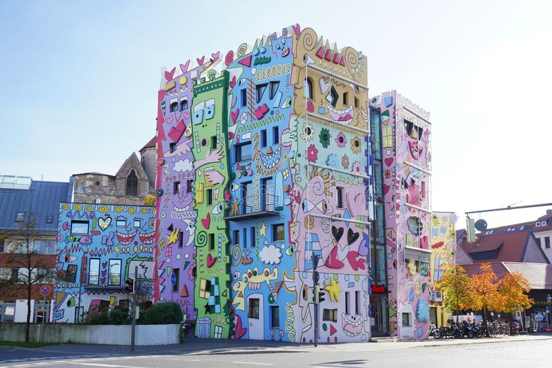 Happy Rizzi House in Brunswick or Braunschweig Germany. Braunschweig, Germany - October 15, 2019: Happy Rizzi House in Brunswick, facade designed by american pop stock image