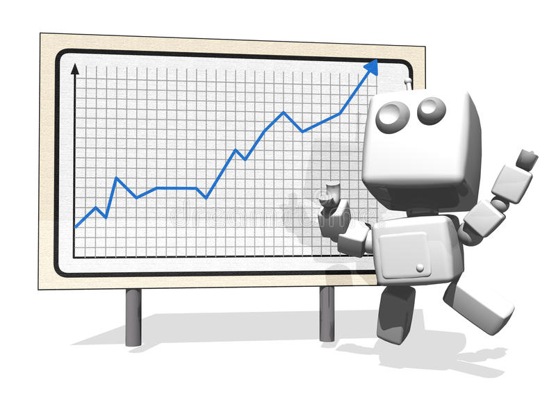 Download Happy Robot With Positive Financial Graph Stock Illustration - Illustration of poster, isolated: 18038889