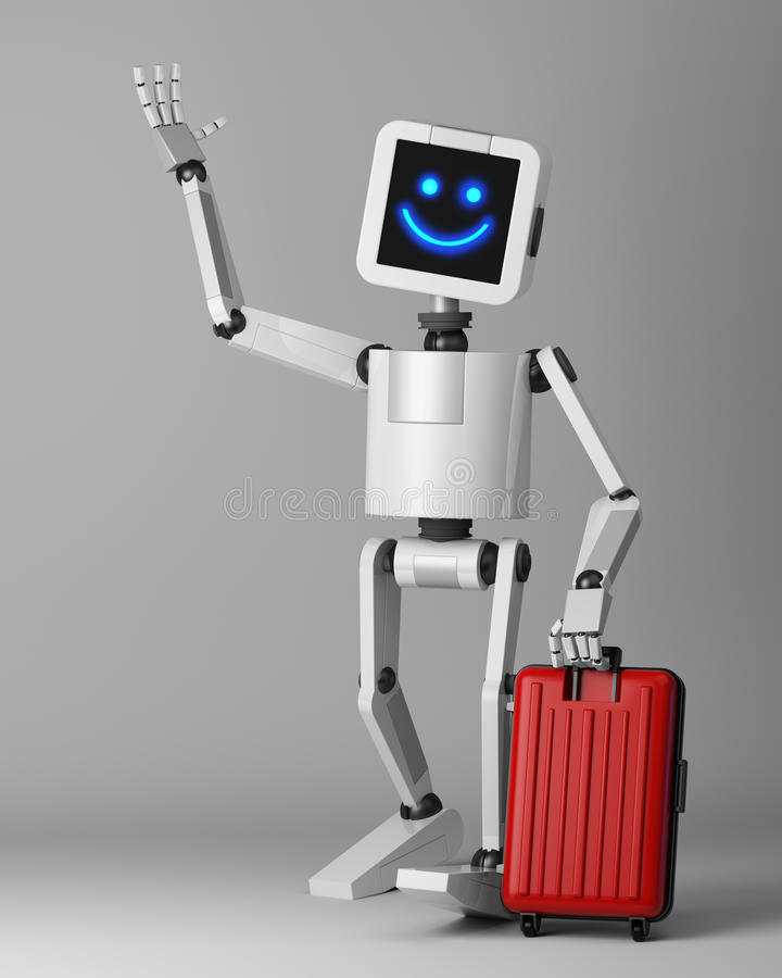 Happy robot with suitcase standing 3d render stock illustration