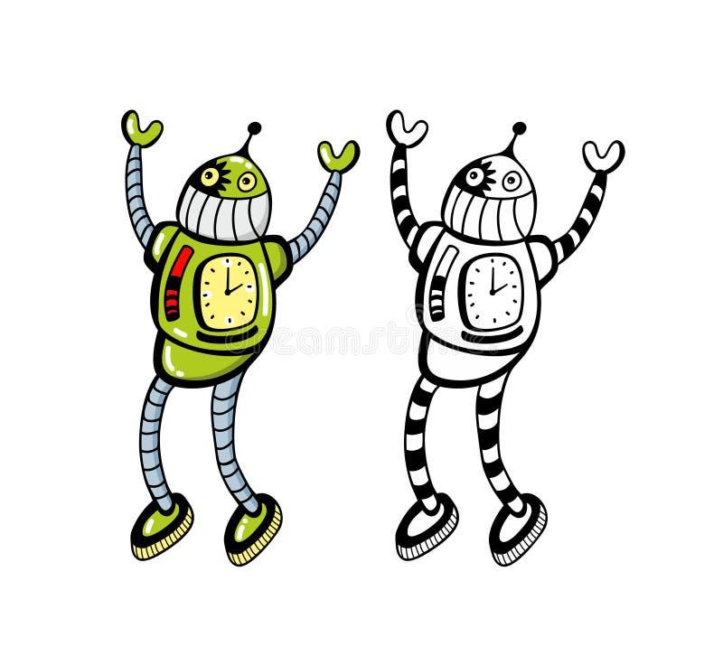 Happy robots set. royalty free illustration