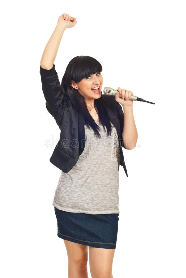 Happy Rock Girl Sing In Microphone Royalty Free Stock Photography