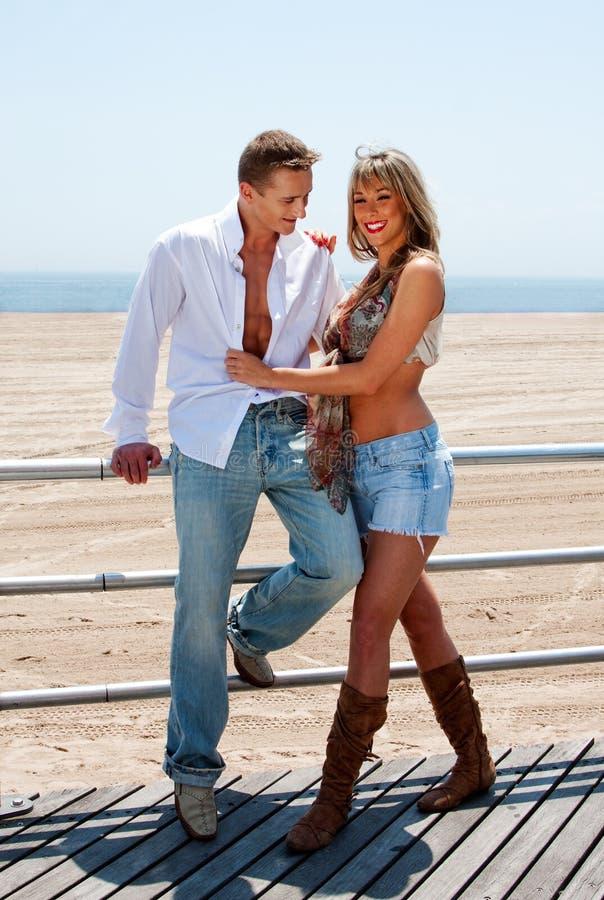 Happy romantic couple stock images