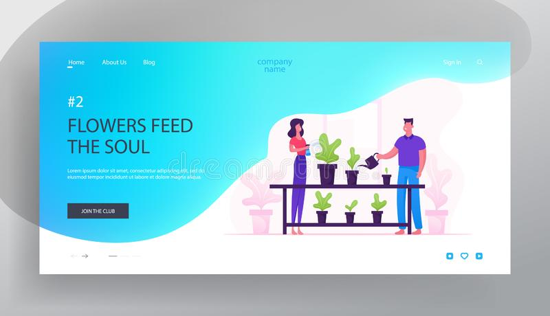 Happy Romantic Couple Enjoying Gardening Hobby Website Landing Page. Man and Woman Spraying and Watering Flowers royalty free illustration