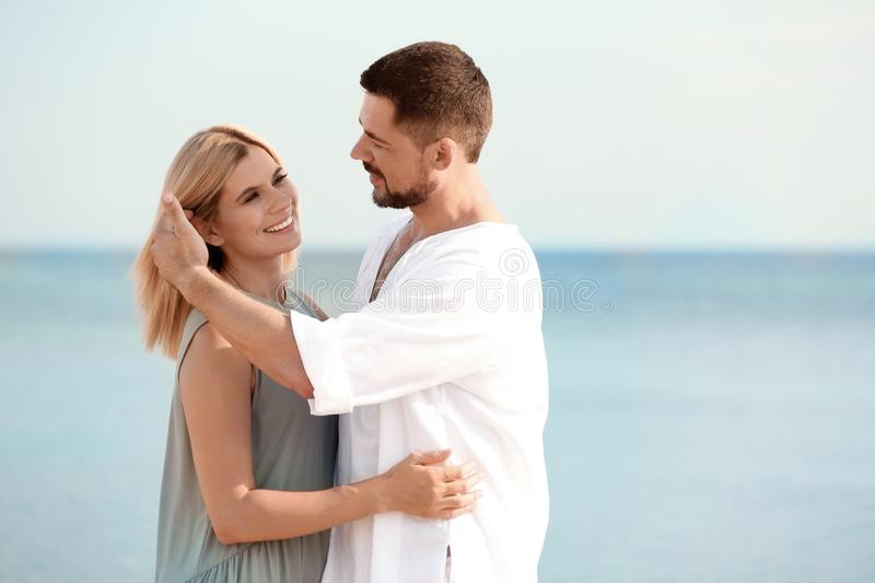 Happy romantic couple spending time together stock image