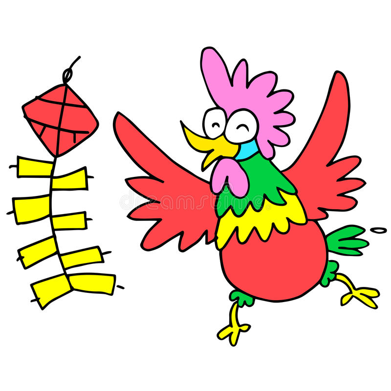 Happy rooster with firecracker character Chinese. Illustration stock illustration